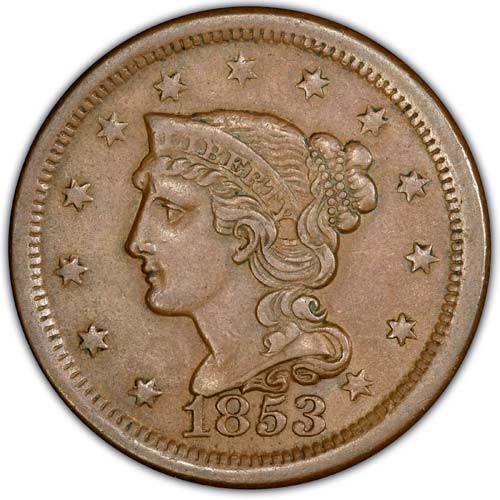 1840-1856 Braided Hair Cent